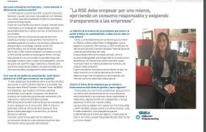 Parte de la entrevista publicada en El Imparcial de Sonora (México) a Belén Merino sobre el estado de la RSE en México